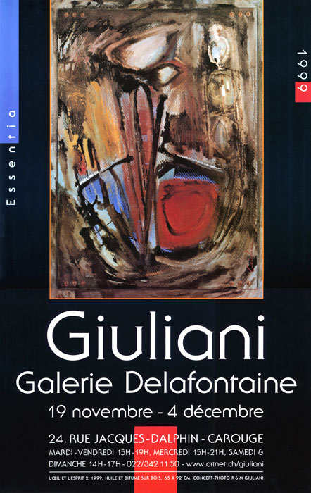 Exposition Giuliani, affiche Galerie Delafontaine, 1999, Carouge.