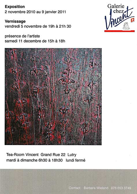 Invitation exposition Giuliani, Galerie chez Vincent, Lutry.